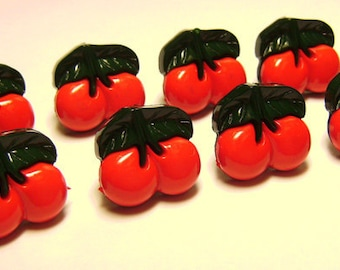8 Cherry Red Cherry Plastic Buttons Scrapbooking