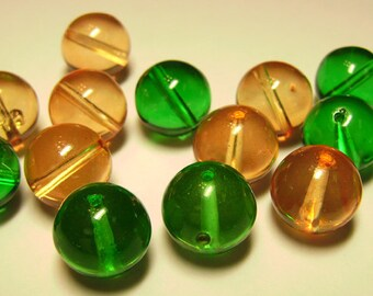 Vintage Lucite Gumball Beads Peach & Spring Green 12mm Plastic