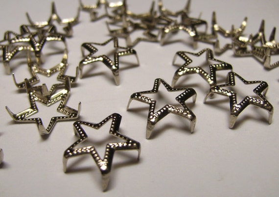 Vintage Silver Metal Star Nailhead Studs 25 For Fabric or Scrapbooking - Jewelry etc