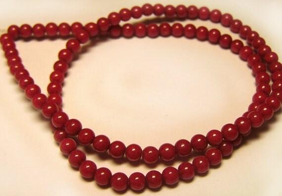 Full Strand Dyed Jade Cherry Red Beads 4mm