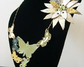 Butterflies and flower leather necklace