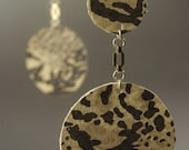 Snakeskin print leather double circle earrings