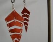 Orange Leather Chevron Earrings