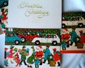 8 vintage 1960s Santa street scene Christmas gift card TAGS