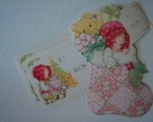 vintage BIG pink patchwork girls Christmas gift tags