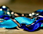 Silver chain and Blue ribbon bracelet-Free shipping