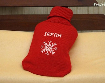 Personalized New Hot water bottle in MERINO wool cover leg arm Warmer Hotty -Valentines day Christmas Birthday gift