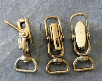 2 Italian Bronze Flat Eye Lock Jaw Snaps 1 inch w/added Loop