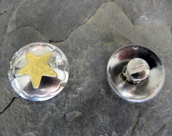 Western Style Gold Star on Stainless Steel Concho 1 inch