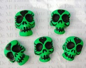 Kelly GREEN Economical Art Supply Clay Skull Cabs For Your Art Set of 5 for 2.75 Please Read Details