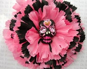 Pink and Black Dia De Los Muertos Clay Sugar Skull Folk Art For your Hair Mexican