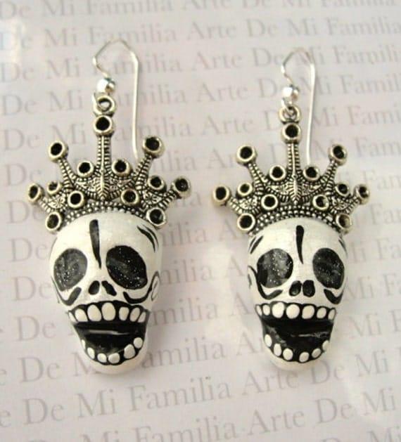 Crown Clay Sugar Skull MEXICAN Dia De Los Muertos Day Of The DeadEarrings  Charms