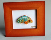 S A L E Miniature Chameleon Lizard Polymer Clay Framed Art