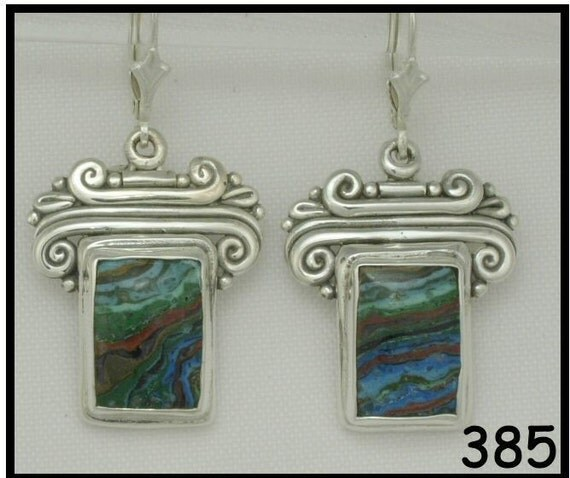 Sterling Silver Earrings with Rainbow Calsilica- Handmade One of a Kind