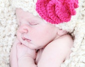 Newborn Photo Prop Hand-Crocheted Oatmeal/Beige Newborn Cocoon and Hat Set with Flower Embellishment for Baby Boy or Girl