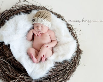 """Photo Prop Hat--Newborn Baby Boy Hat Cap in Tan/Beige/Khaki and Ivory """"Tweed"""" with Button Accent"""