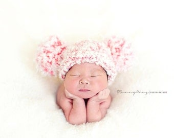 Photo Prop Girl Hat--Chunky Soft Double Pom Pom Hat for Newborn Baby Girl in Salmon/Peachy Pink and White, Christmas Red and White