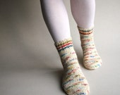 Wool Women's Socks - Hand Knitted, Multicolored, Asymmetrical