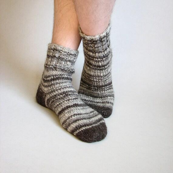 Random Striped Organic Socks - 100% Natural Hand-spun Wool Yarn - Autumn Winter Eco Clothing