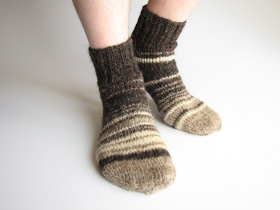 Striped Asymmetrical Hand Knitted Socks - 100% Natural Organic Undyed Wool - Earthy Tones - Autumn Winter Comfort