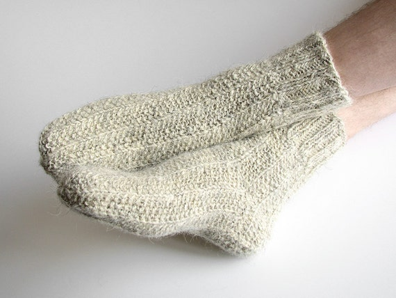 Light Gray Hand Knit Men's Socks - 100% Natural Organic Wool - Autumn Winter Eco Clothing