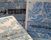 Blue and White Damask Happy Birthday