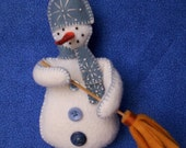 Handmade embroidered snowman Christmas ornament