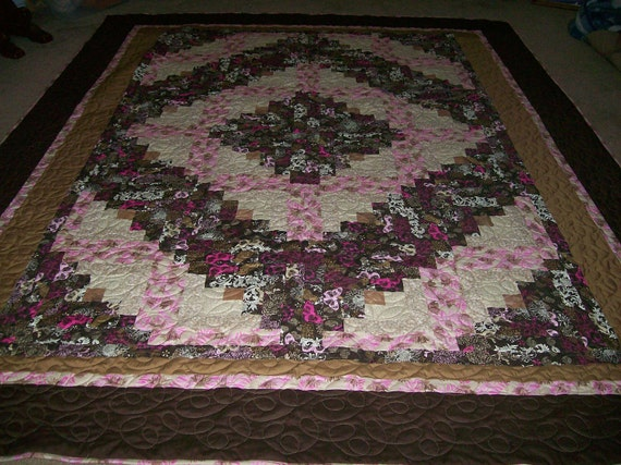 Queen Size Log Cabin Quilt in Pinks and Browns