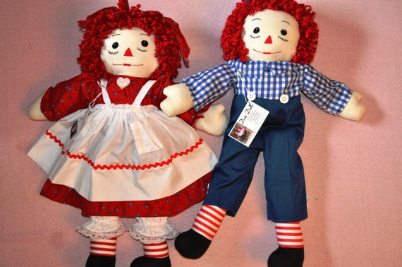 """Raggedy Ann and  Andy Set 25""""  FREE SHIPPING"""