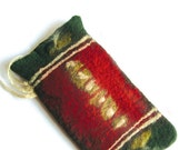 Cell Phone felted Case, green red decorated with abstract pattern, Eyeglass Case