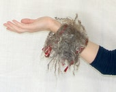 Felted Bracelet with locks gray and brown colors - Leris
