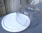 Vintage Cheese Platter With Glass Lid In Shabby White