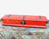 Wood Box Vintage Storage Unique Piece In Distressed Apple Red Finish