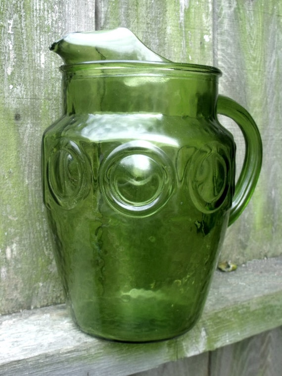 Vintage Green Glass Pitcher By Anchor Hocking