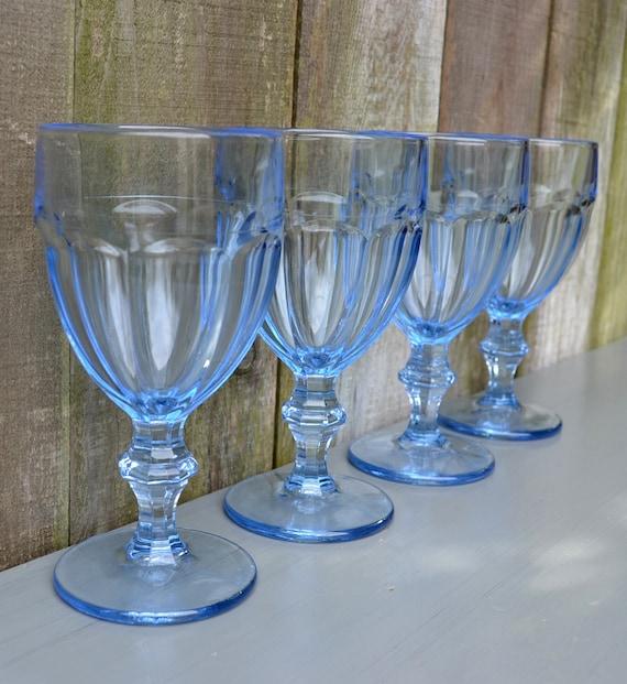 Glass Goblets Set Of Four Stunning Light Blue Vintage Libbey