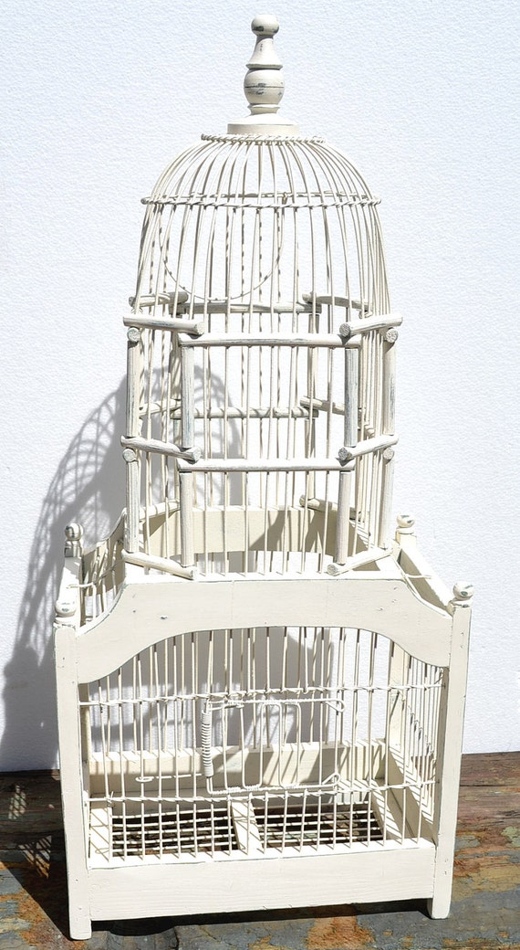 Bird Cage Vintage Victorian Style Wood And Wire In Distressed