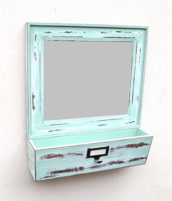 20% OFF SALE Mail Holder Mirrored With Labeled Key Hook In Shabby Blue Green Finish