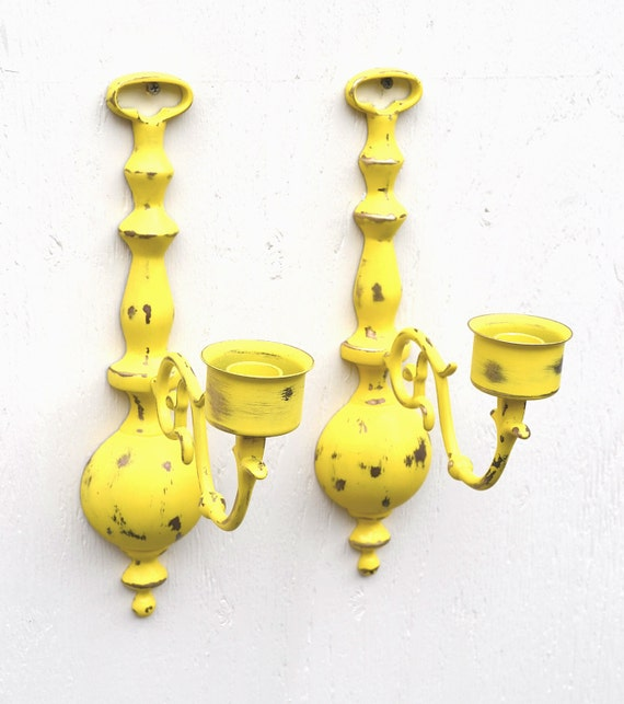 Candle Wall Sconce Vintage Brass Pair In Distressed Sun Yellow Finish