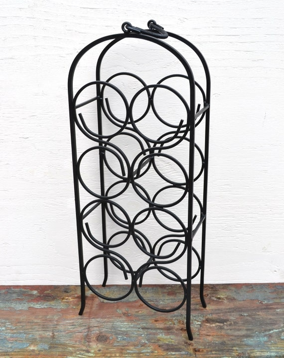 CLEARANCE SALE ITEM Wine Rack Vintage Wrought Iron Eight Bottle Black