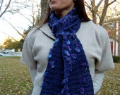 SALE Hand Knit Scarf / Navy Blues