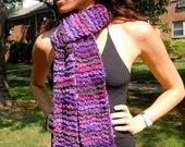 Hand Knit Scarf / Purple Passion / One of a Kind / OOAk / Art Yarn