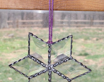 Stained Glass Suncatcher - Clear Glass Bevels, Star, Christmas Holiday Ornament