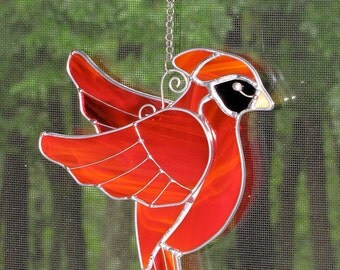 Stained Glass Suncatcher - Three-Dimensional Flying Cardinal,  Bird with Wire Accents