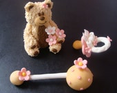 Edible Fondant 4'' tall 3D Fuzzy Bear, Pacifier and Rattle Girl Baby shower Cake Topper Set