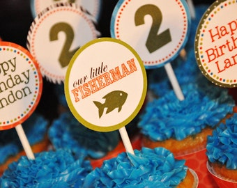 PRINTABLE PARTY CIRCLES or cupcake toppers -Gone Fishing - Little Fisherman Party Collection - Memorable Moments Studio
