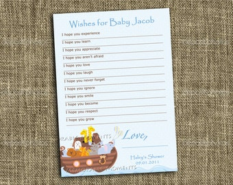 PRINTABLE WISH LIST Noah's Ark Baby Shower Collection - Customized - Memorable Moments Studio