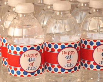 50% off - INSTANT DOWNLOAD - Printable Water Bottle labels - Happy 4th of July Party Collection - Memorable Moments Studio