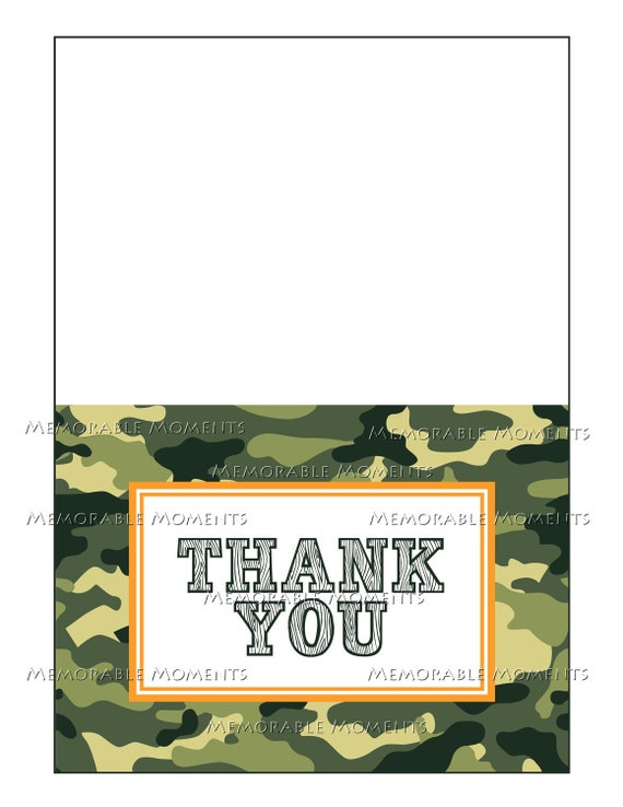 INSTANT DOWNLOAD - Printable 5x7 Folded Thank You Card - Camo Army Collection - Memorable Moments Studio
