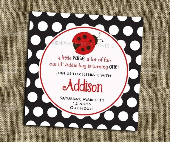PRINTABLE INVITATIONS Polka Dot Black White and Red Ladybug Party Invitation - Memorable Moments Studio
