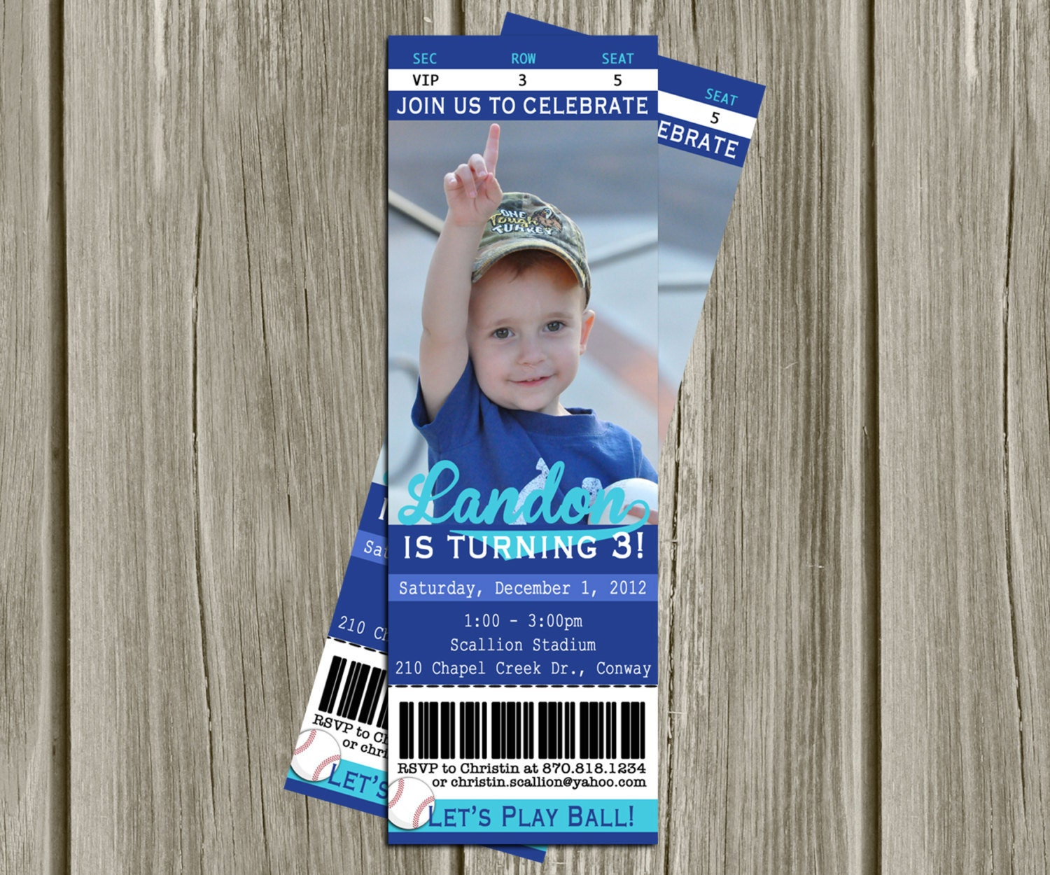 PRINTABLE INVITATIONS Baseball Game Ticket Birthday Party